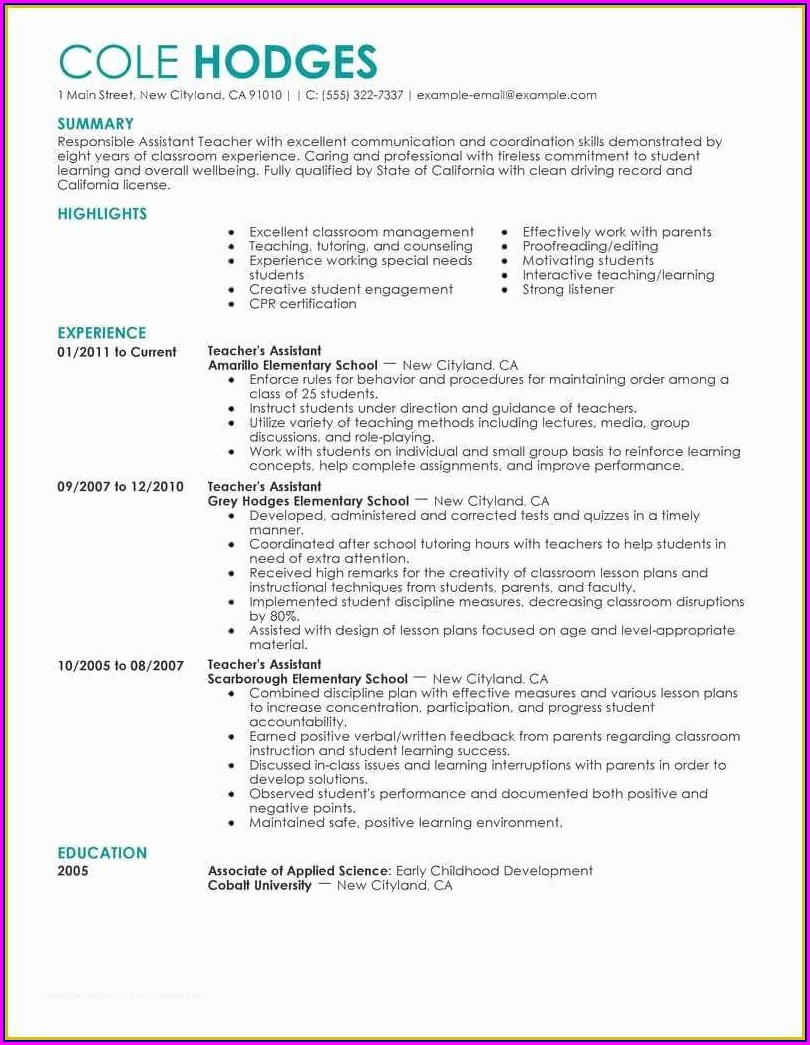 Best Education Resume Format