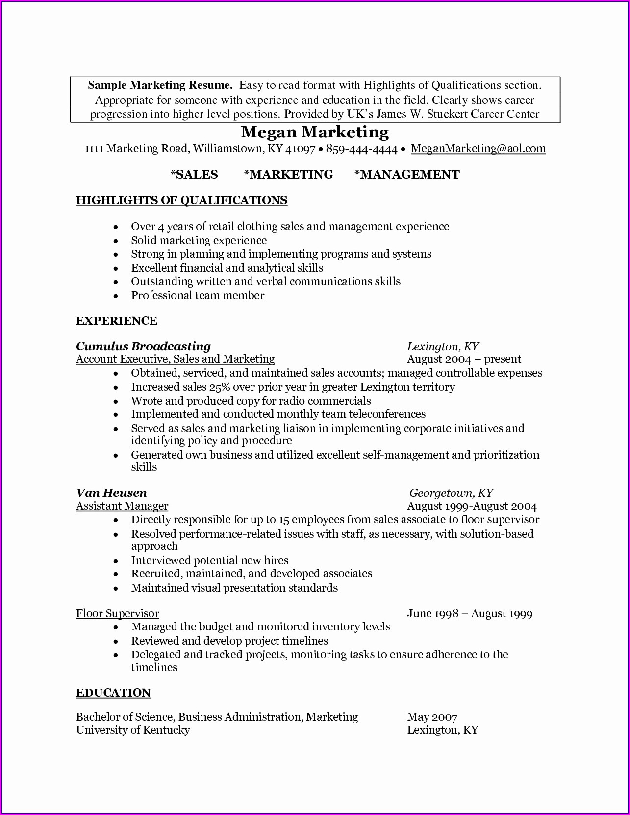 Best Resume Examples For Sales Manager