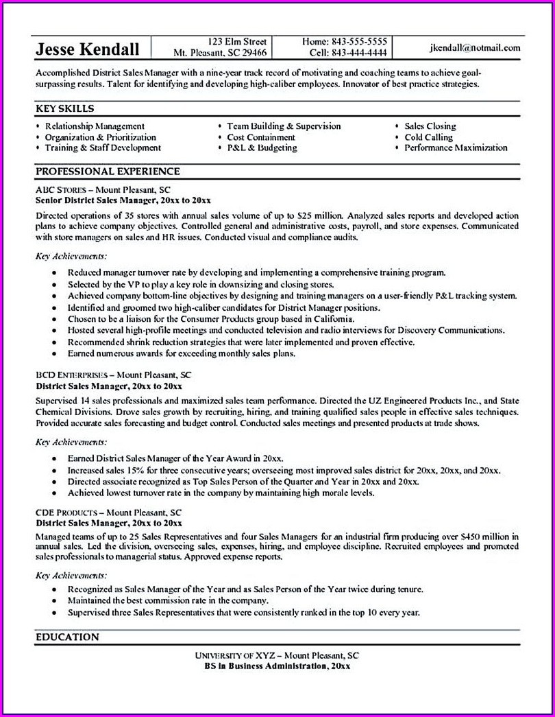 Best Resume For Regional Sales Manager