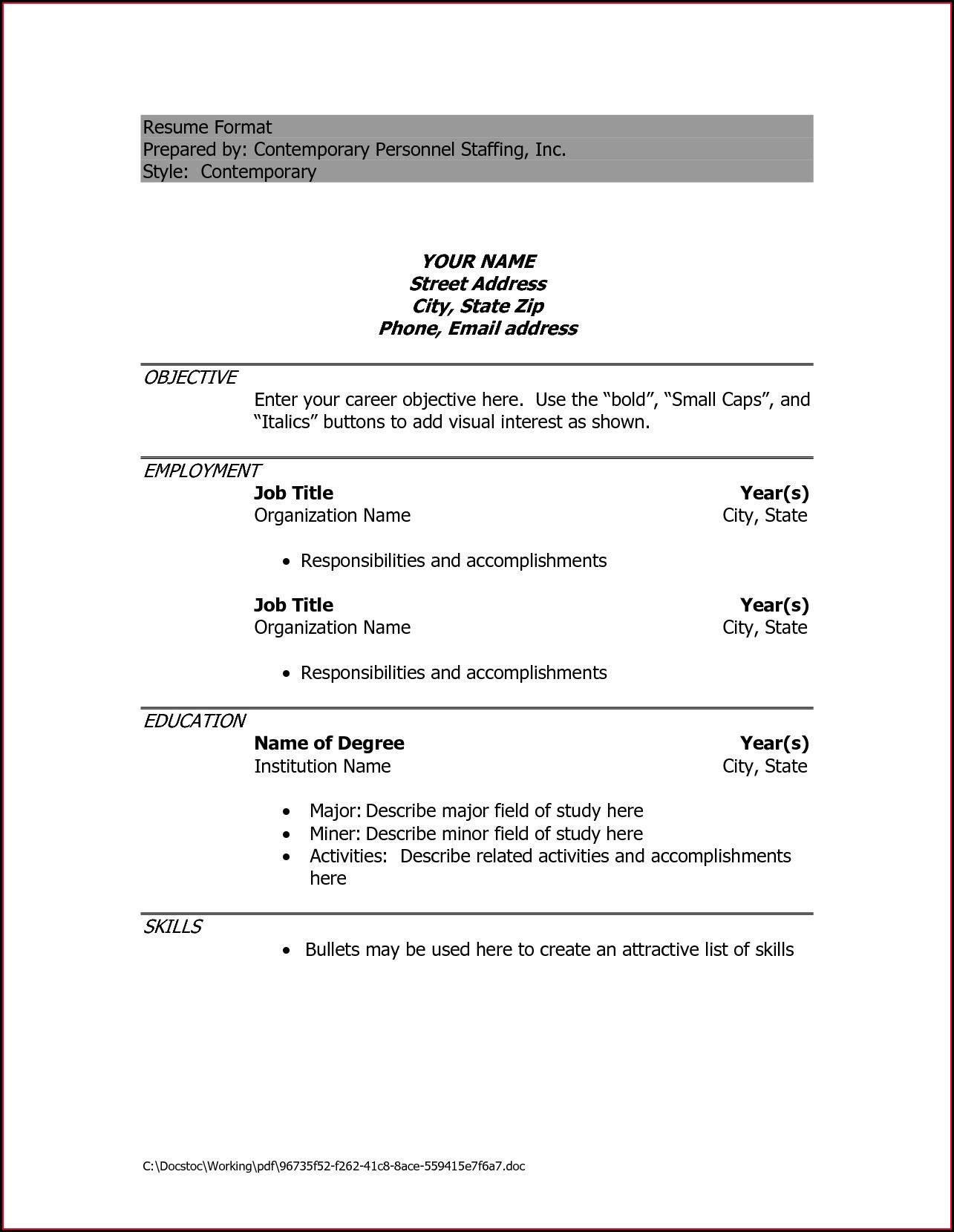 Best Resume Format Doc File Download