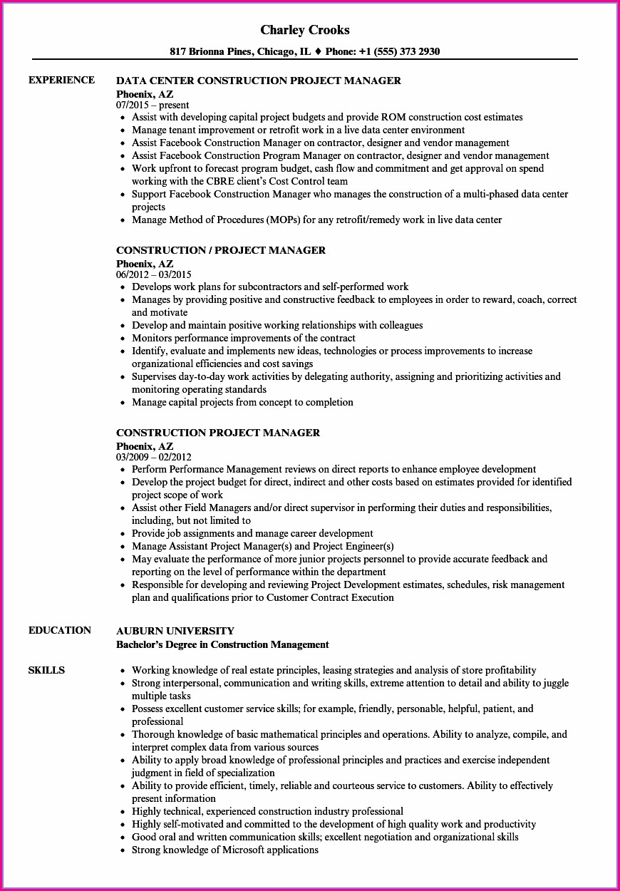 Best Resume Format For Construction Project Management