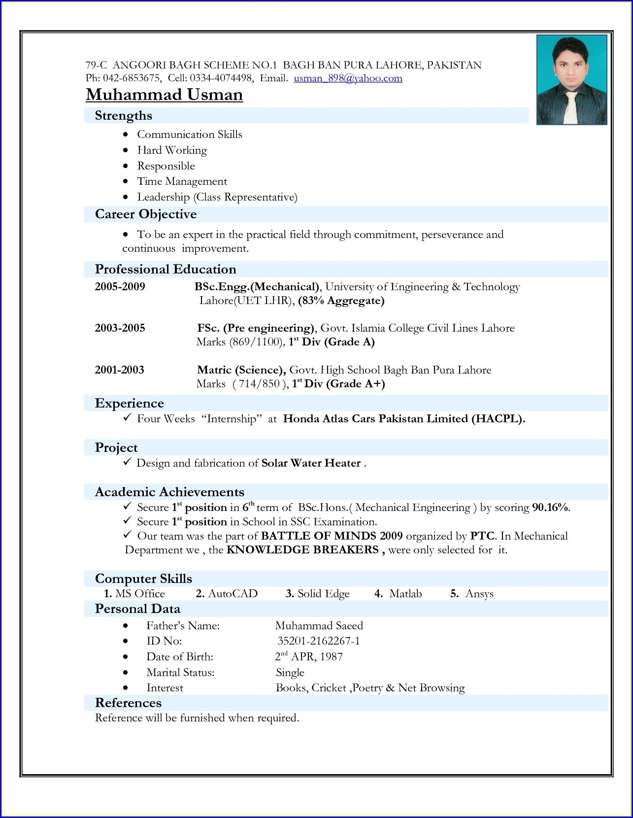 Best Resume Format For Freshers Mechanical Engineers