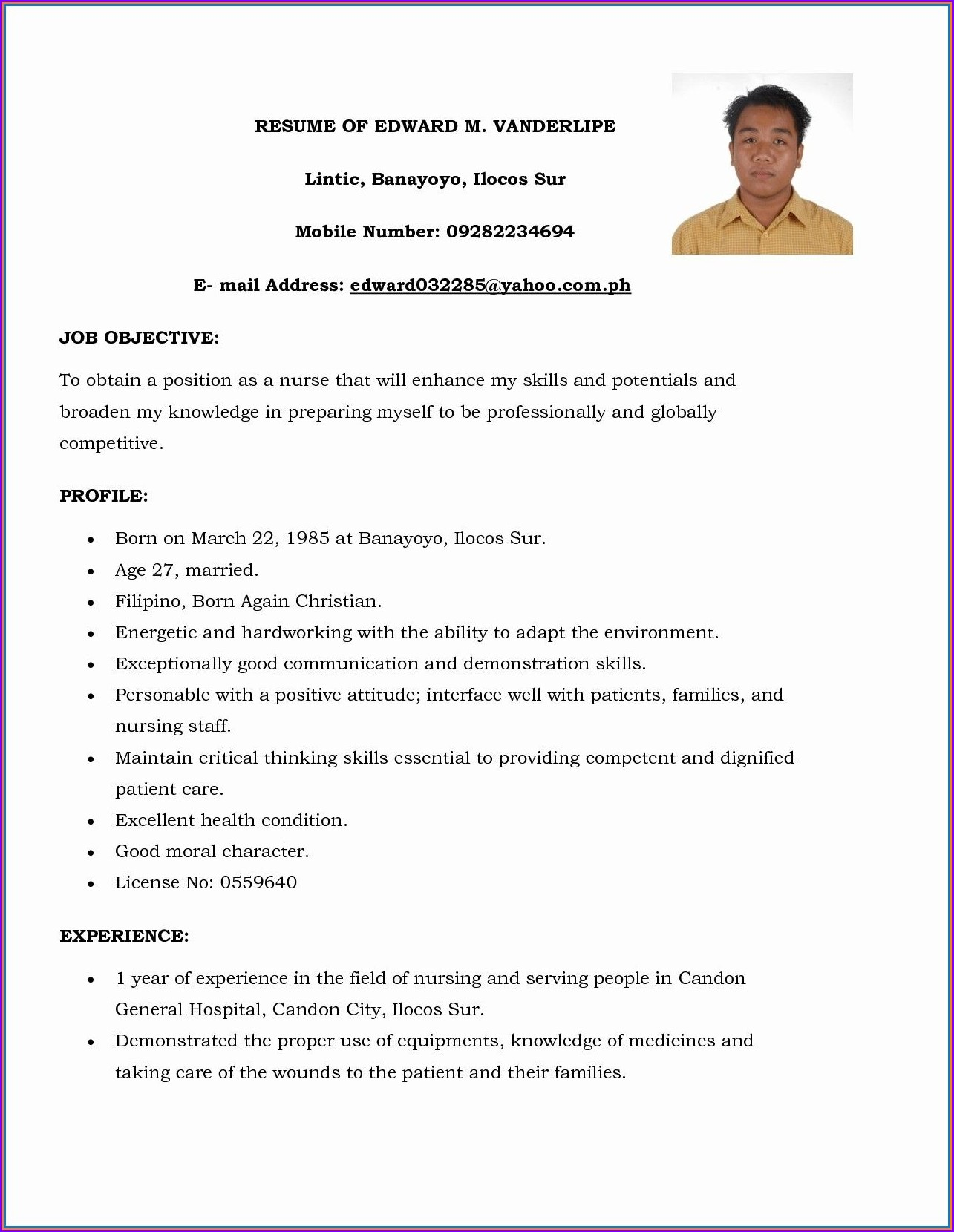 Best Resume Format For Nursing Job