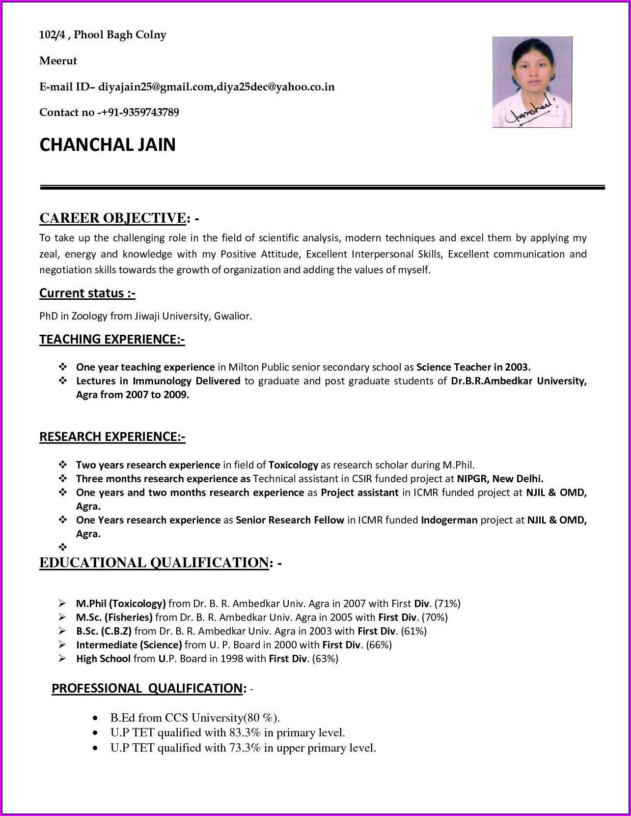 Best Resume Format For Teacher Post