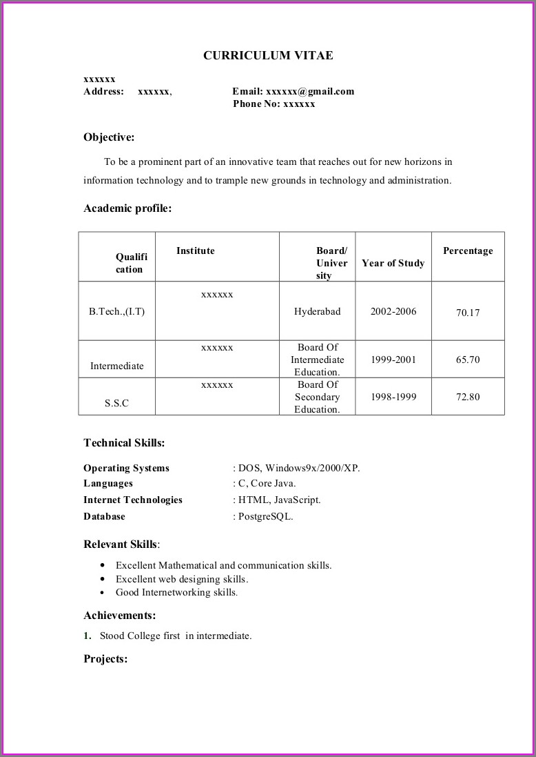 Best Resume Format Free Download For Fresher