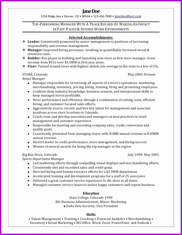 Best Resume Sample For Sales Manager