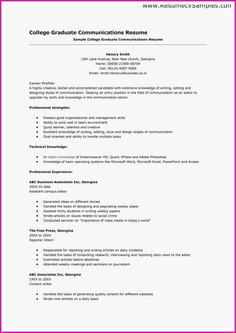 Best Resume Template For Recent College Graduate