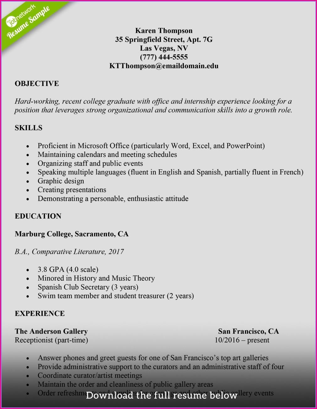 Best Resume Templates For College Graduates