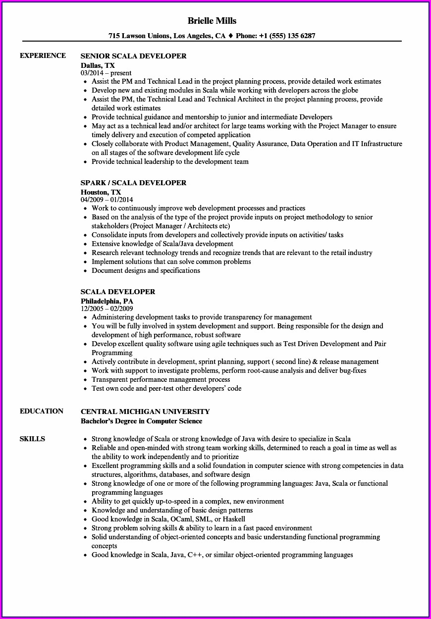Big Data Hadoop And Spark Developer Resume