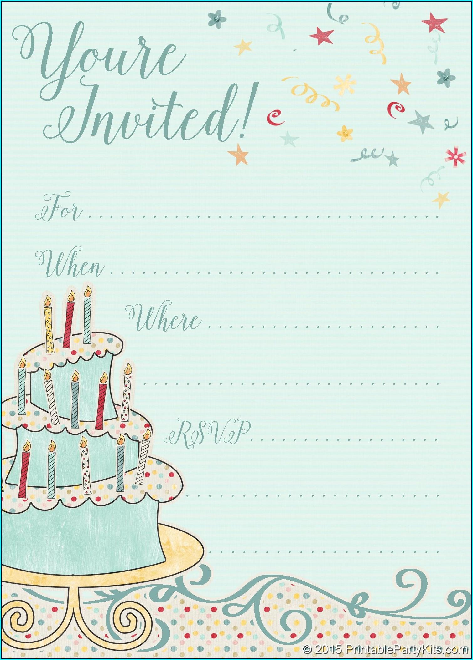 Birthday Invitation Card Free Template