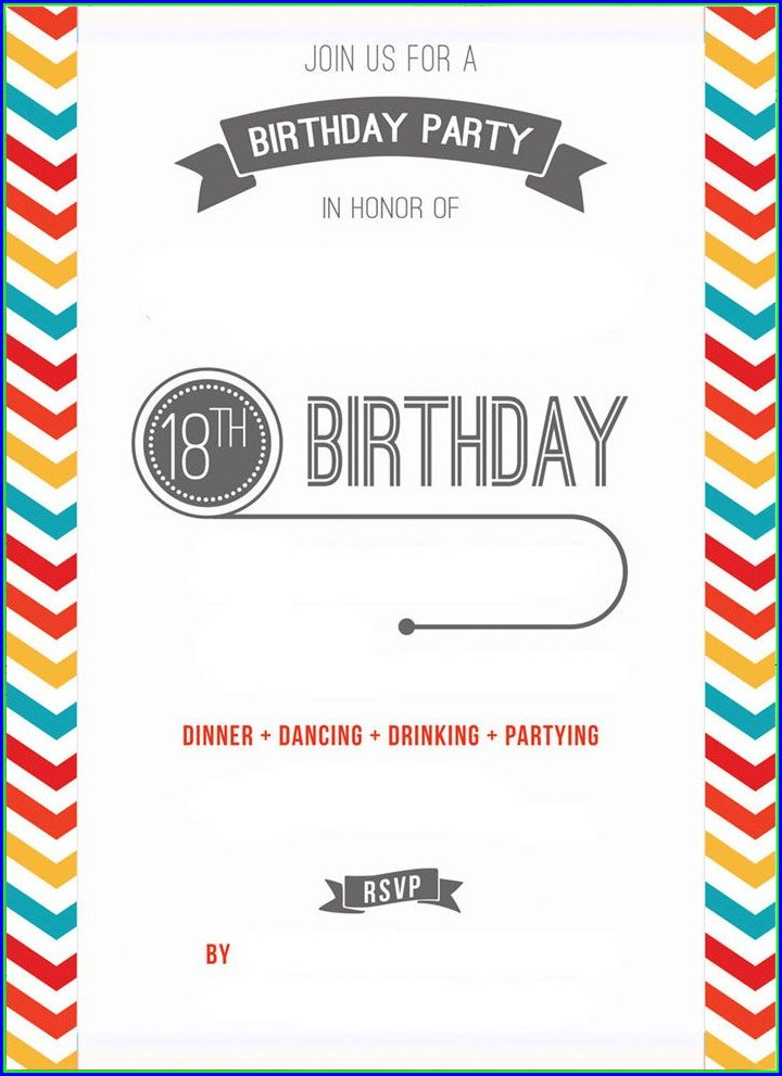 Blank 18th Birthday Invitation Templates Free Download