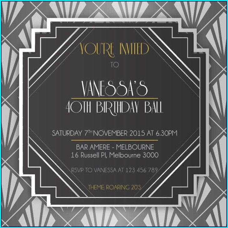 Blank 1920s Invitation Template Free