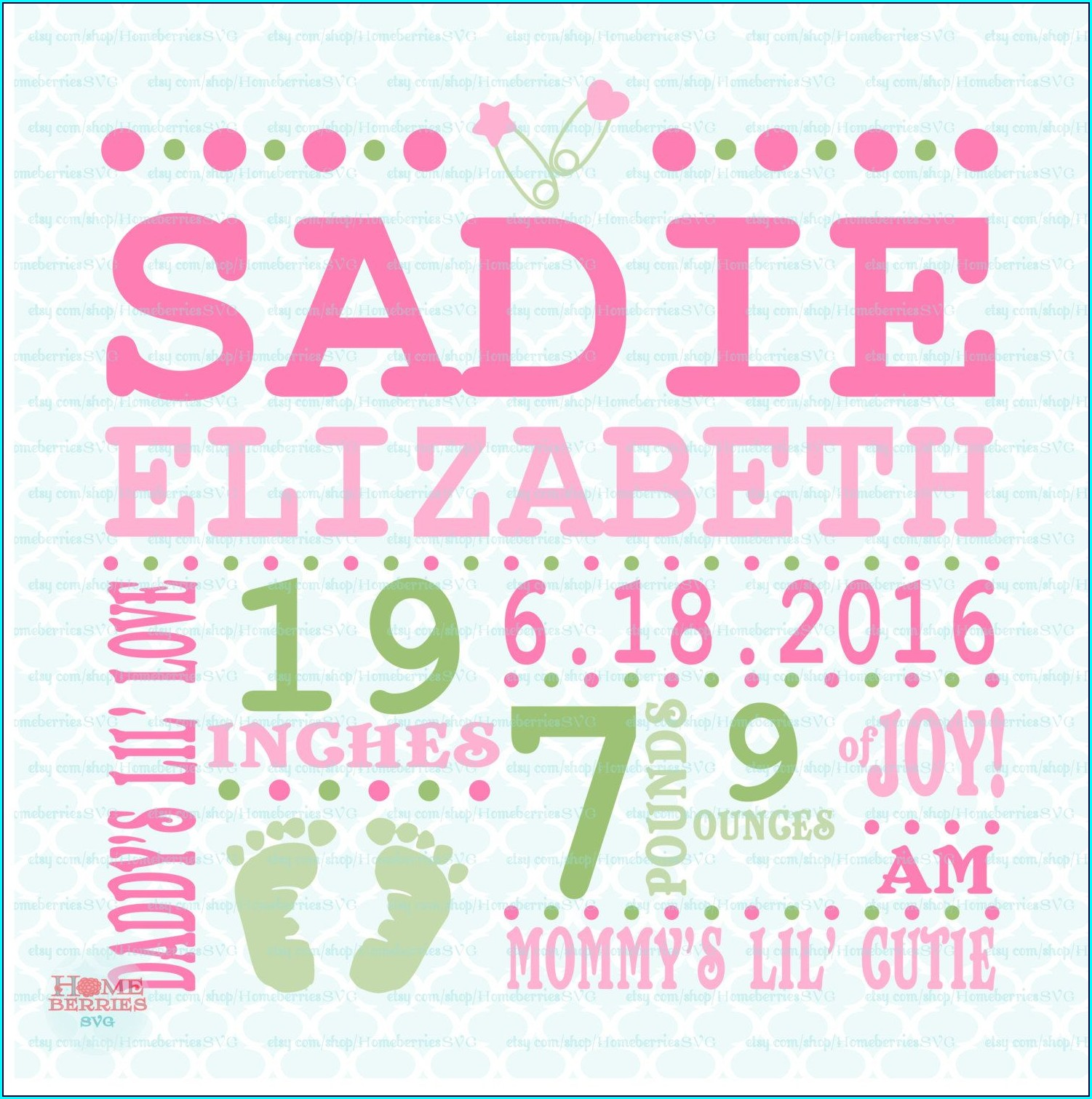 Blank Baby Girl Birth Announcement Template