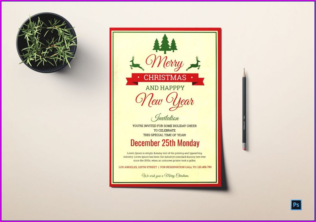 Blank Christmas Lunch Invitation Template