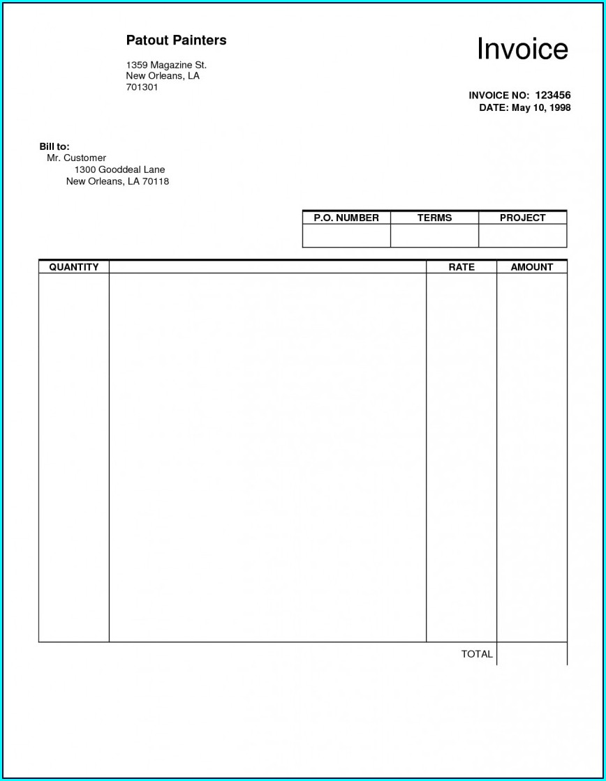 Blank Editable Invoice Template Word