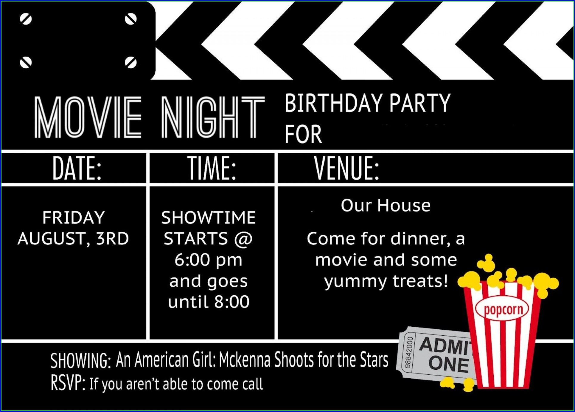Blank Movie Night Invitation Template