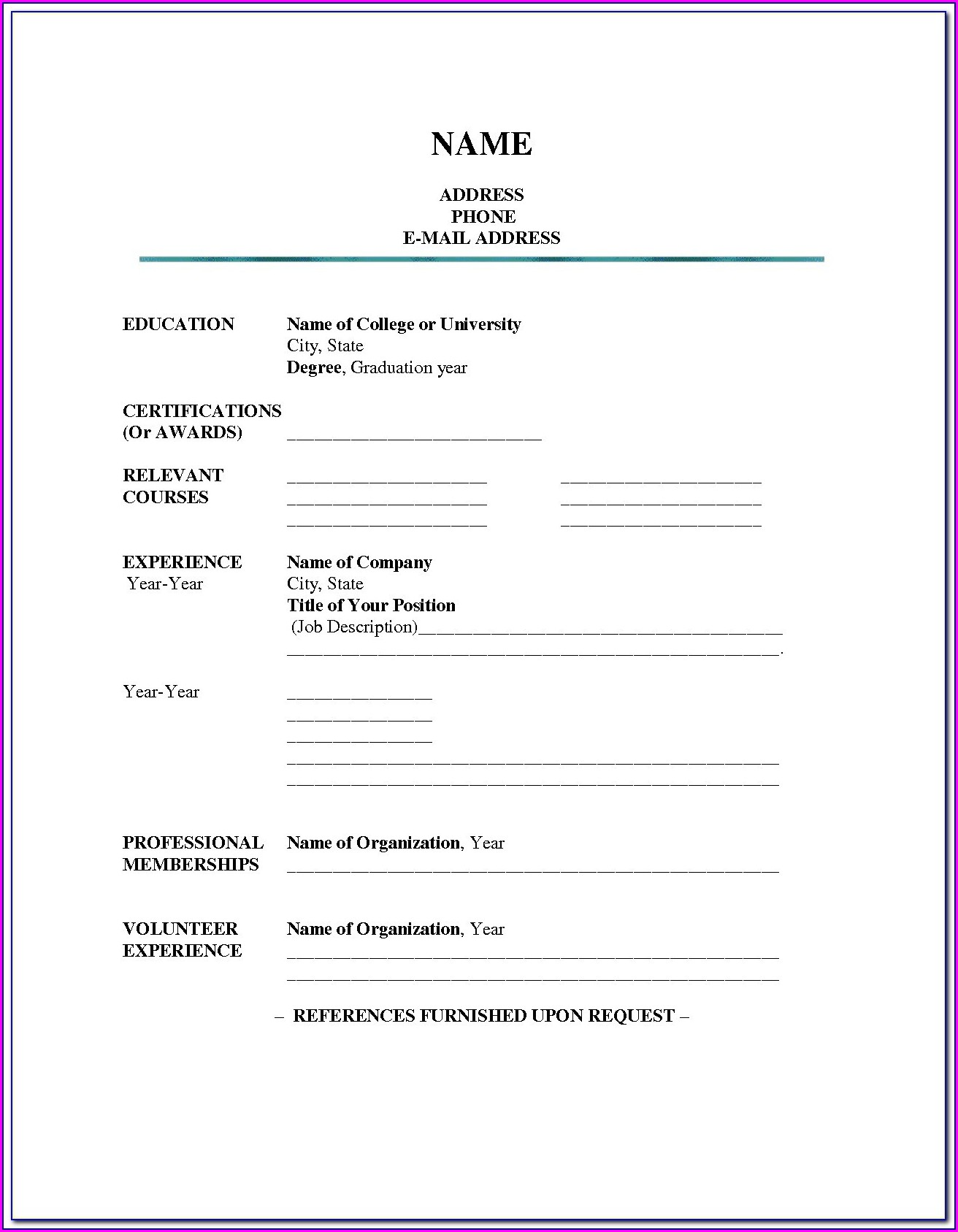 Blank Resume Application Form Download