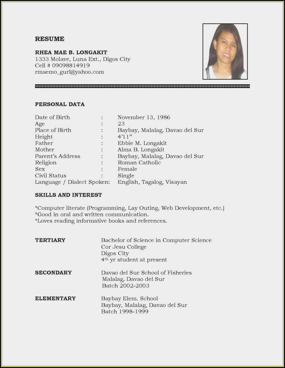 Blank Resume Format For Freshers Free Download