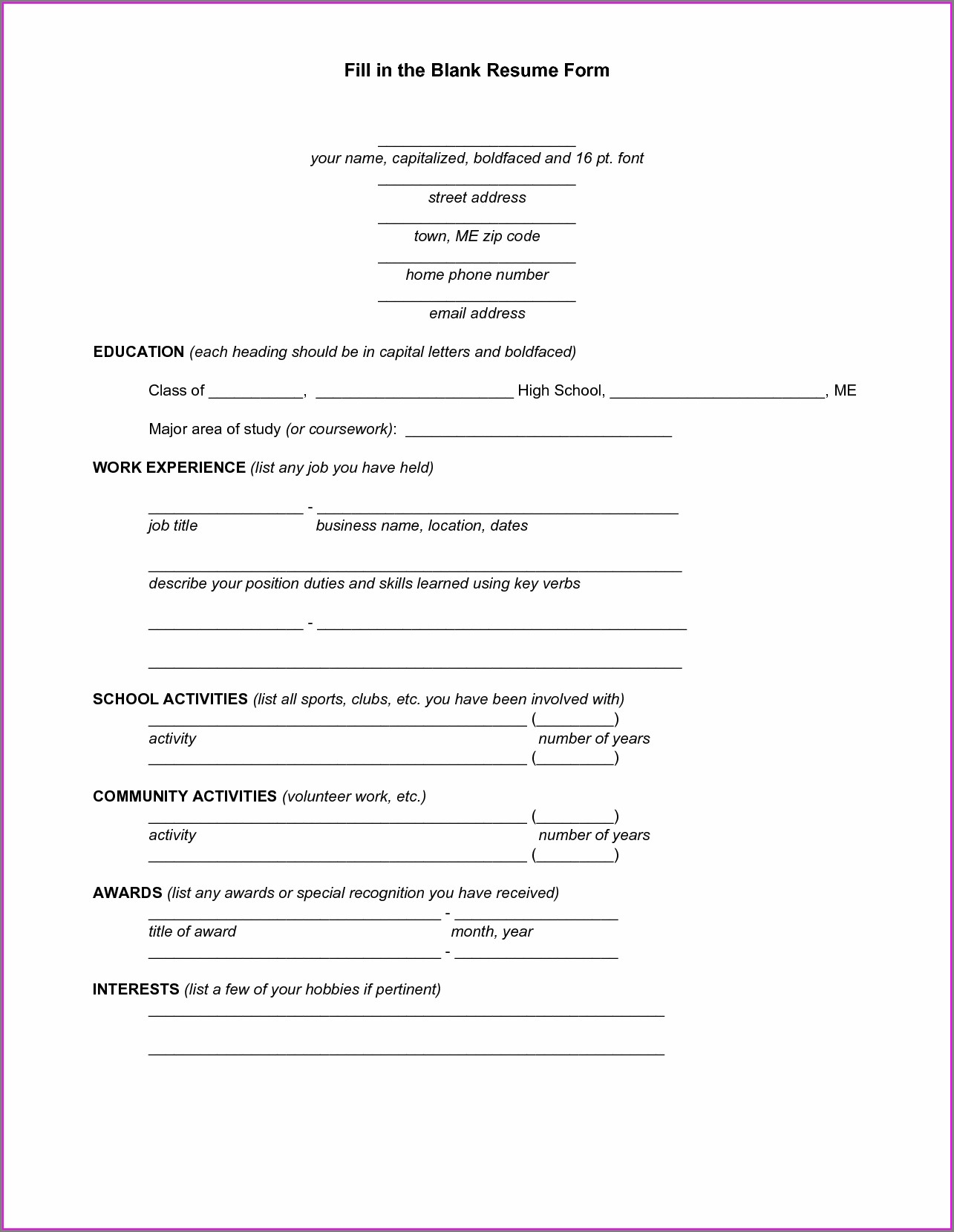 Blank Resume Forms To Fill Out