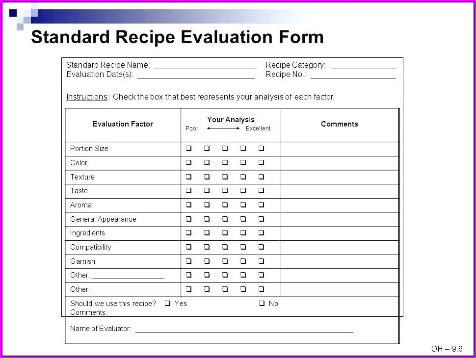 Blank Standardized Recipe Template