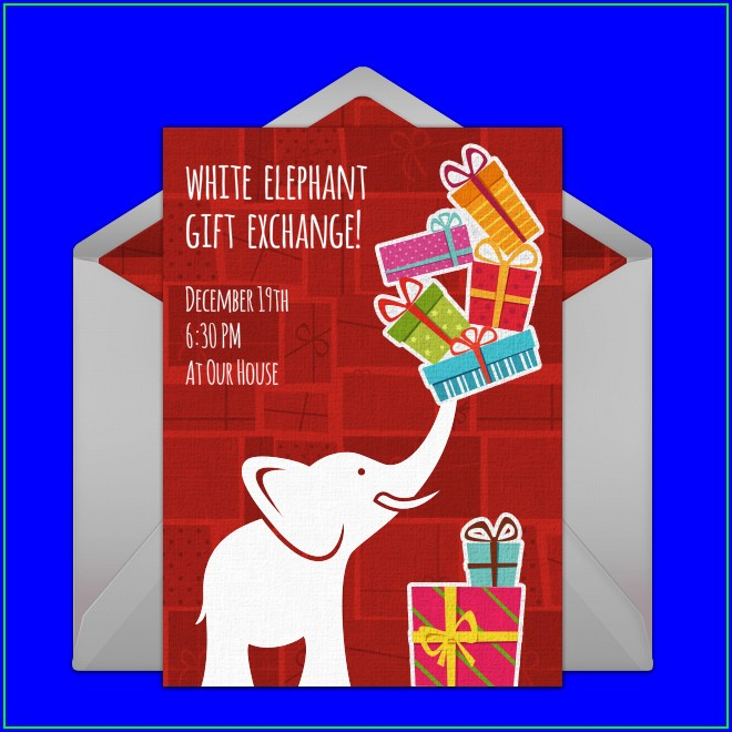 Blank White Elephant Invitation Template Free