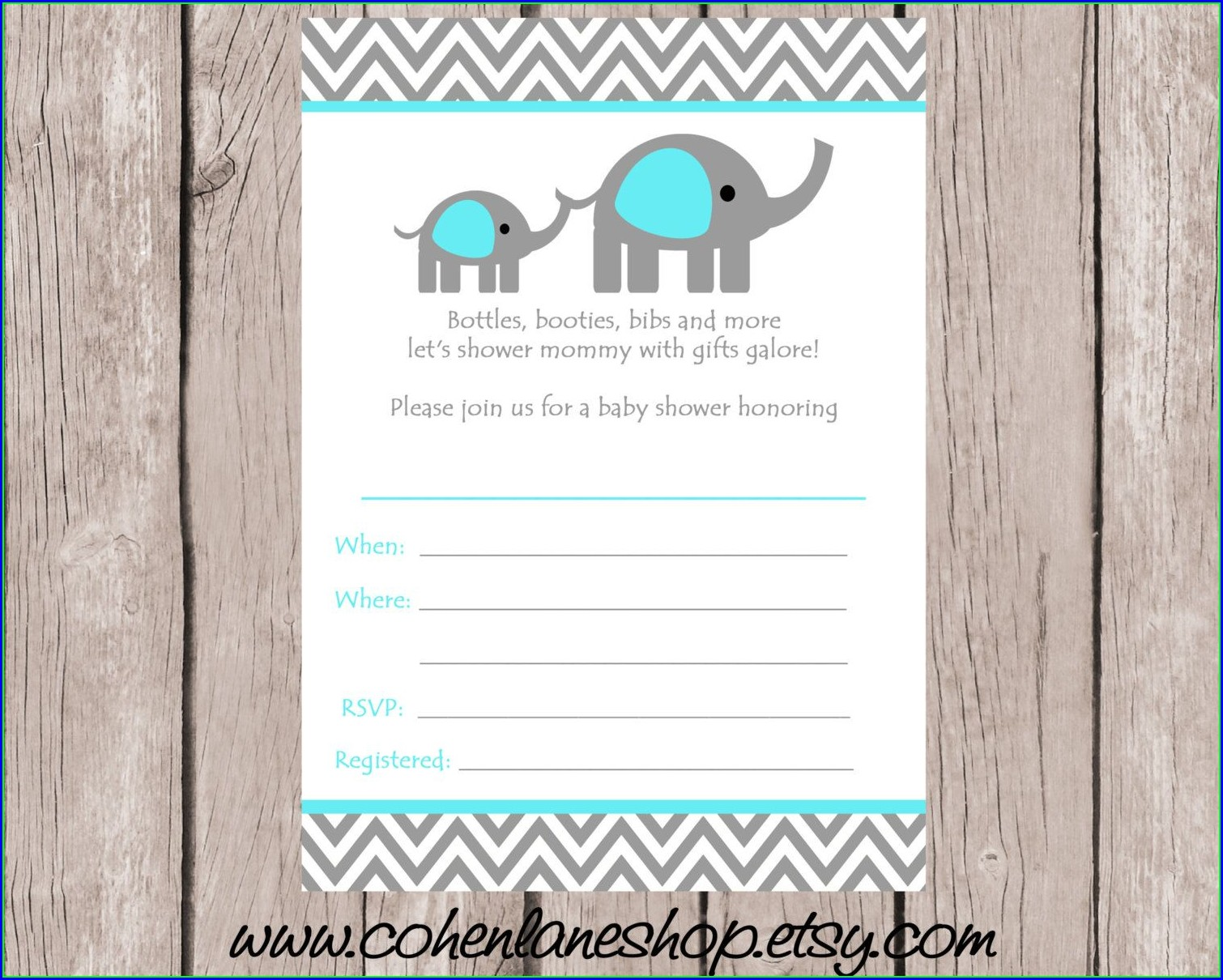 Blank White Elephant Invitation Template