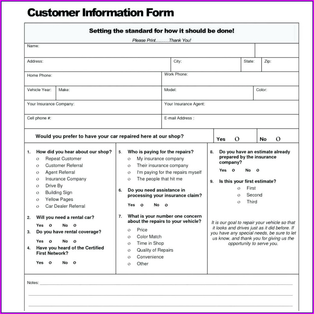 Body Shop Estimate Template