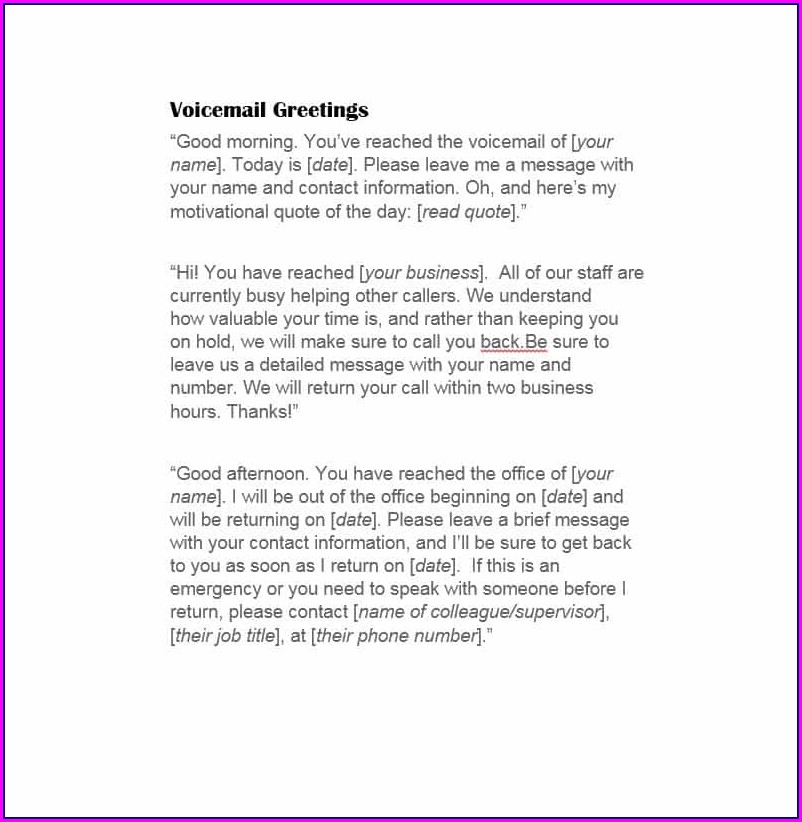 Business Voicemail Template