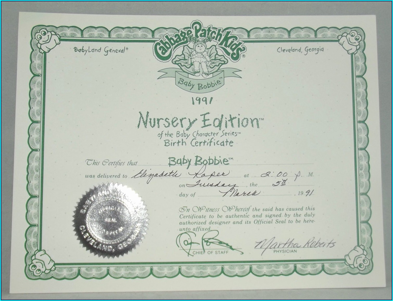Cabbage Patch Doll Birth Certificate Template