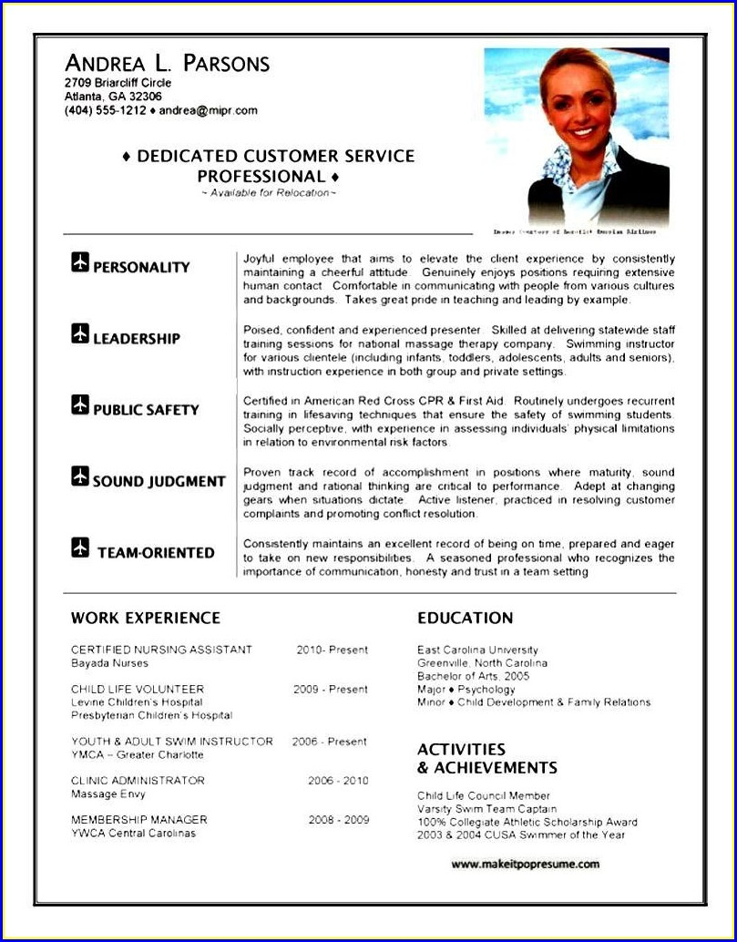 Cabin Crew Resume For Airline Job