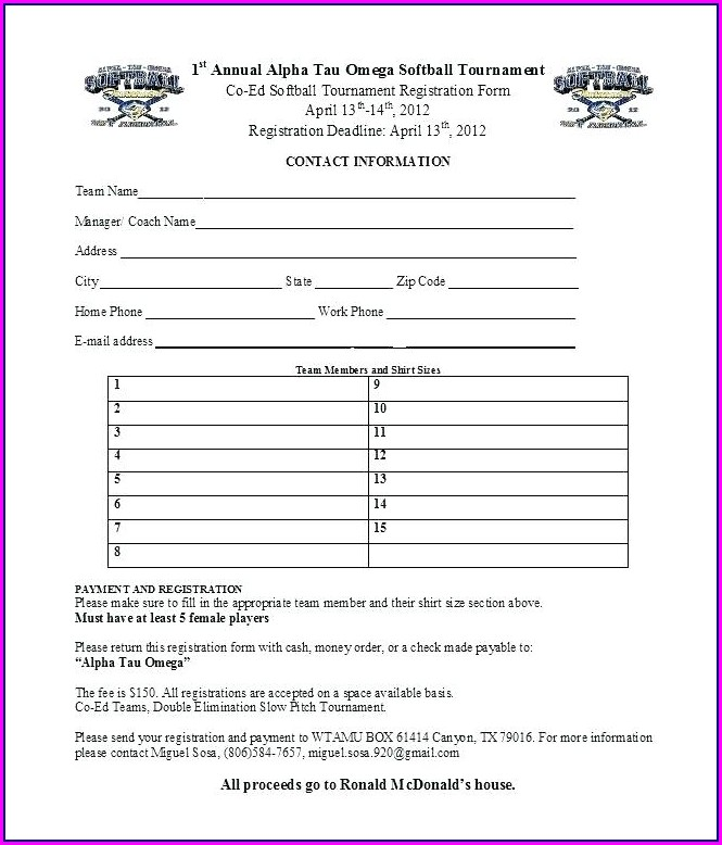 Camp Registration Form Template Free Download