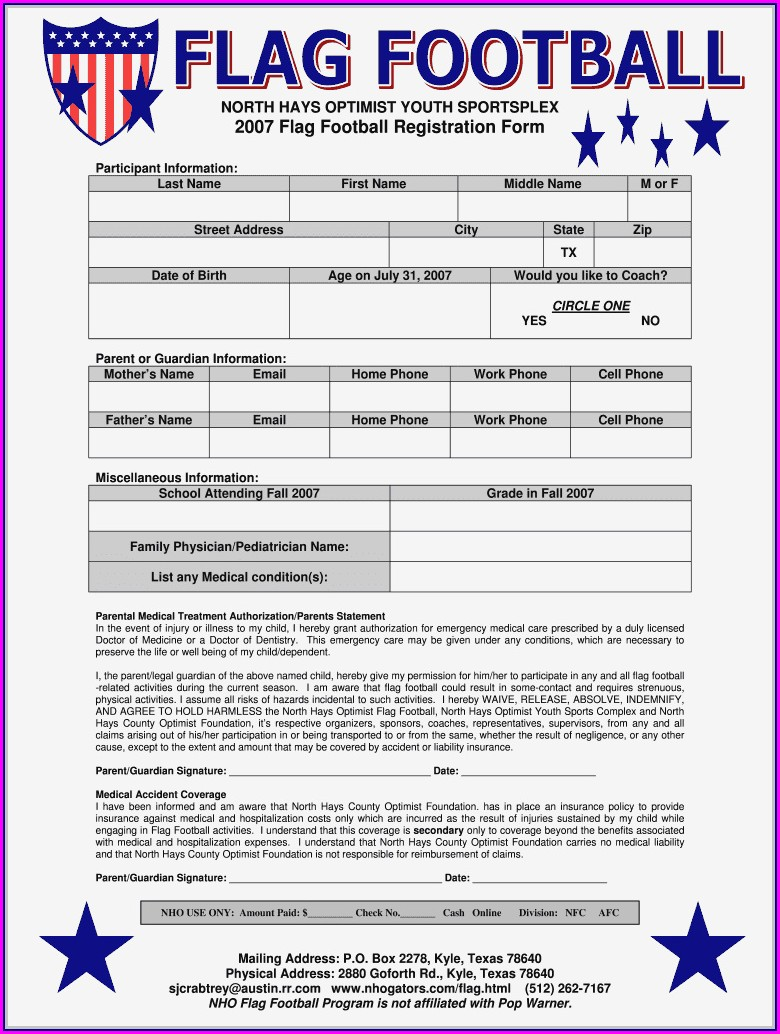 Camp Registration Form Template