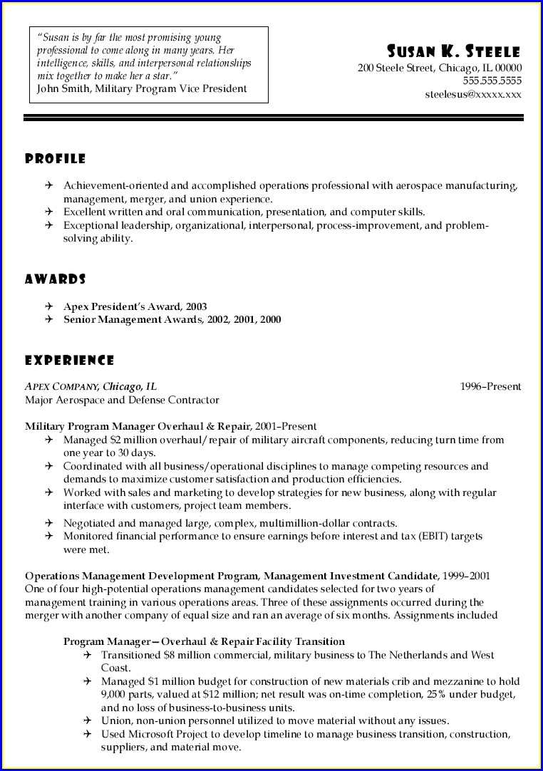 Canadian Military Resume For Civilian Job