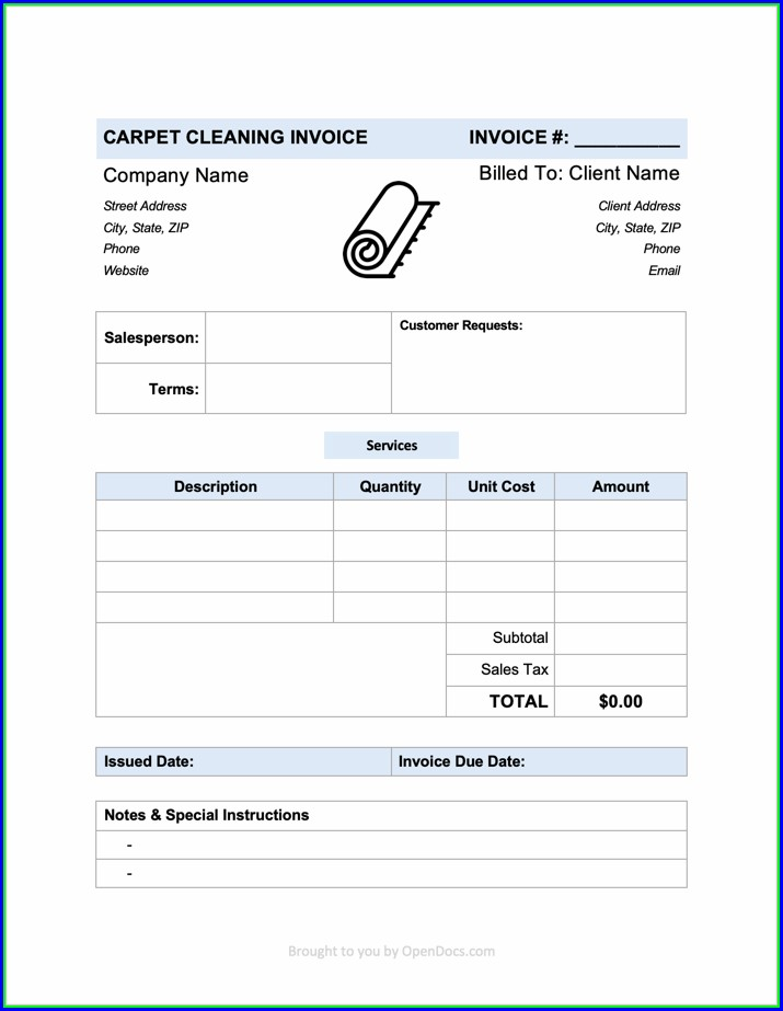 Carpet Cleaning Invoice Template