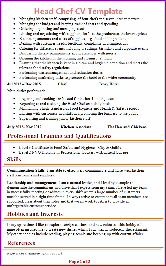 Chef Cv Template Free Download