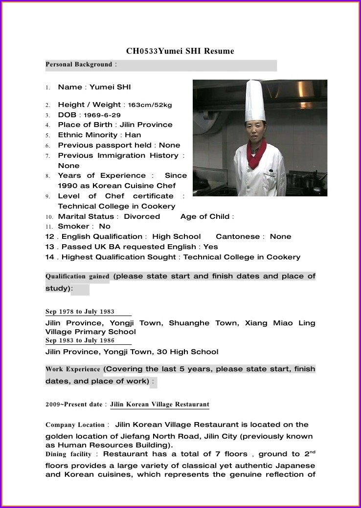Chef Resume Format Free Download