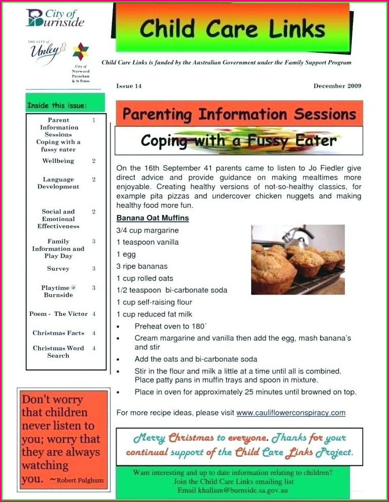 Child Care Newsletter Templates