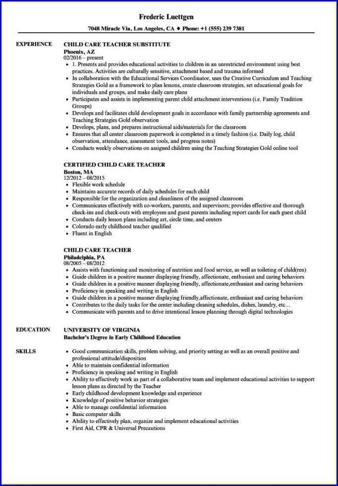 Child Caregiver Job Resume Sample