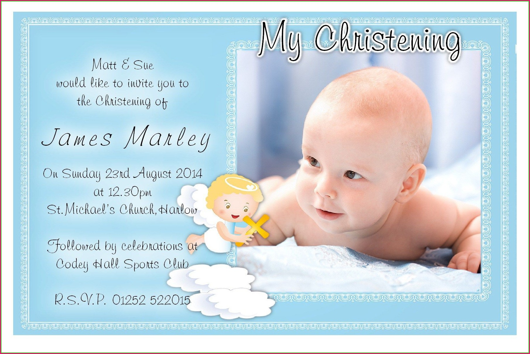 Christening Invitation Template Boy