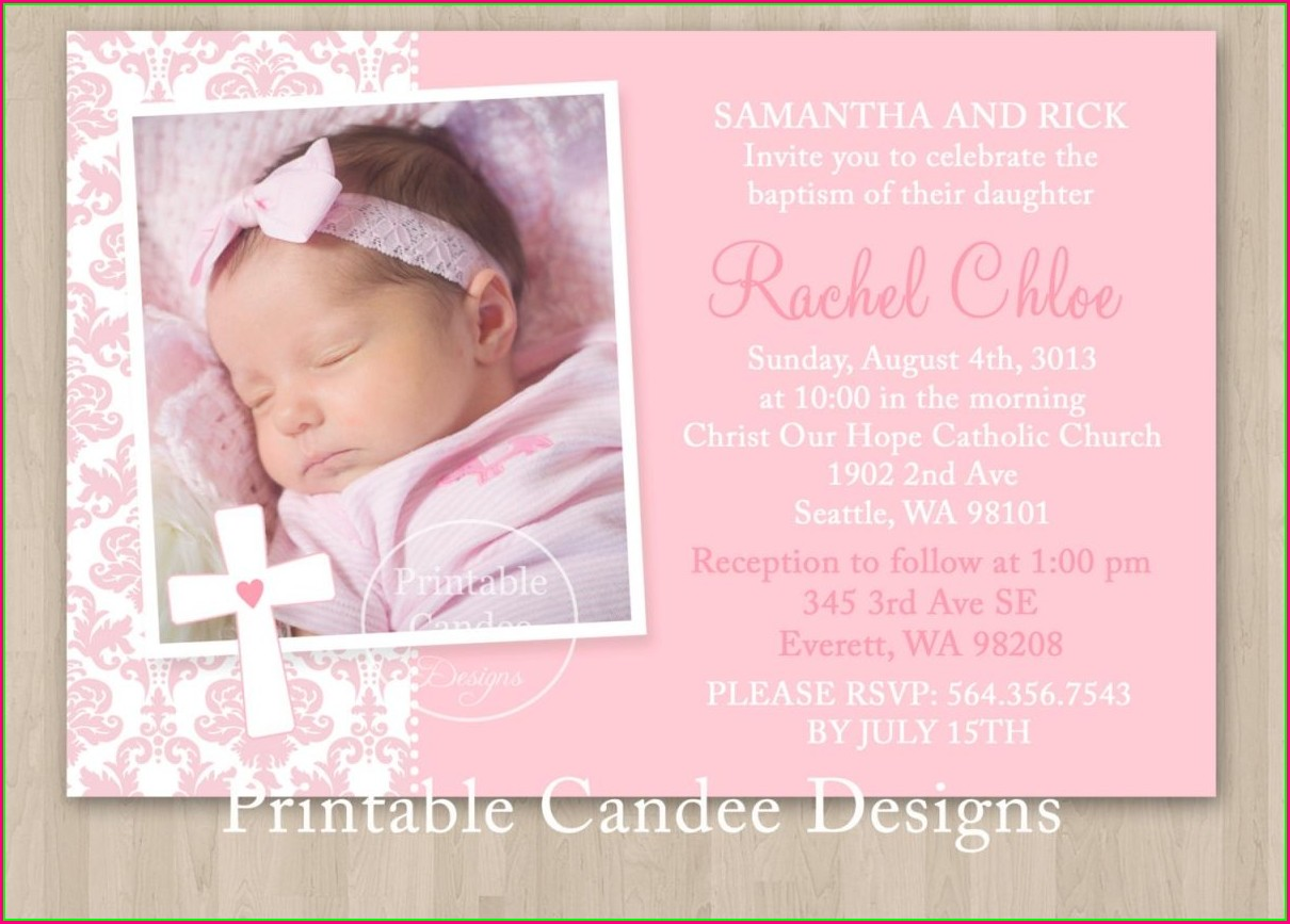Christening Invitation Template For Baby Girl