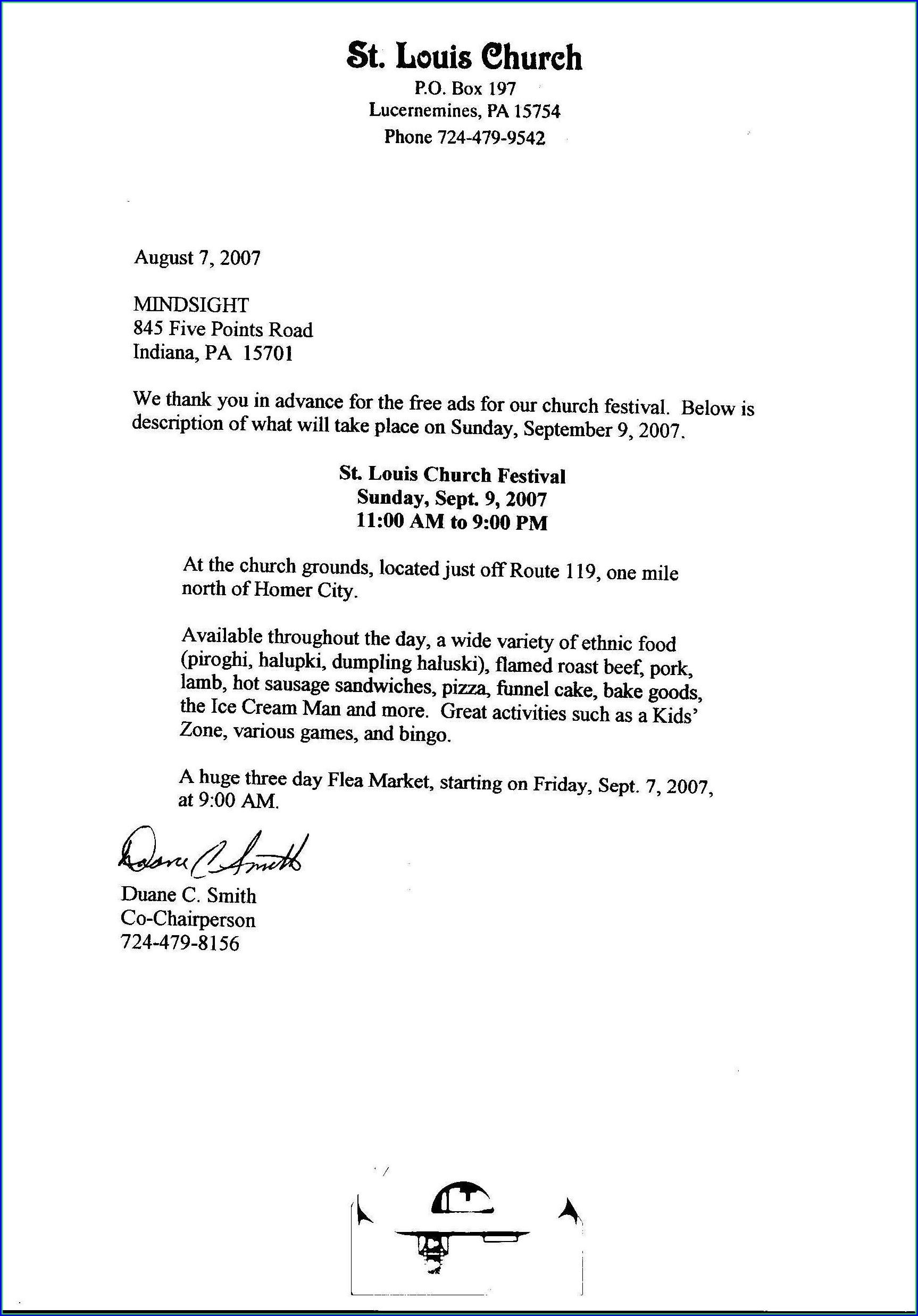 Church Donation Letter Template