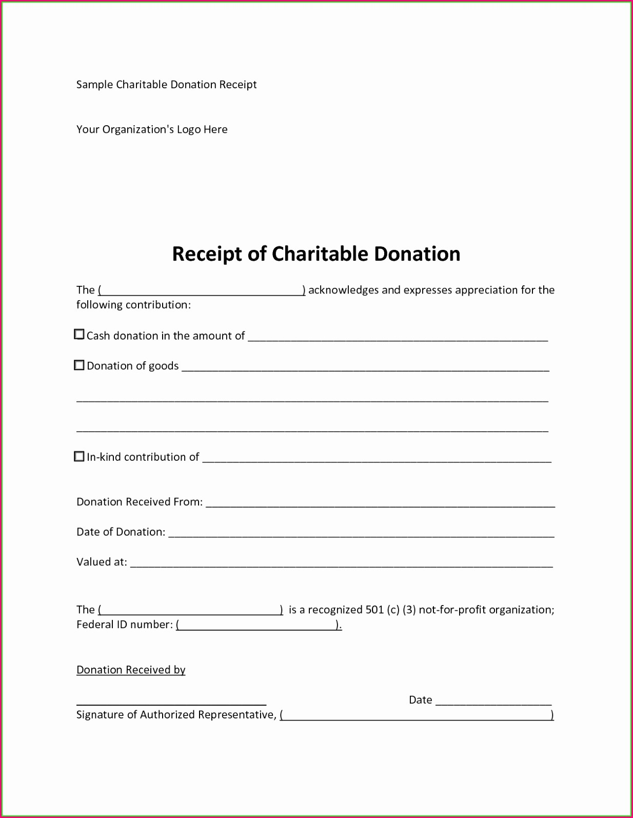 Church Tithing Records Template