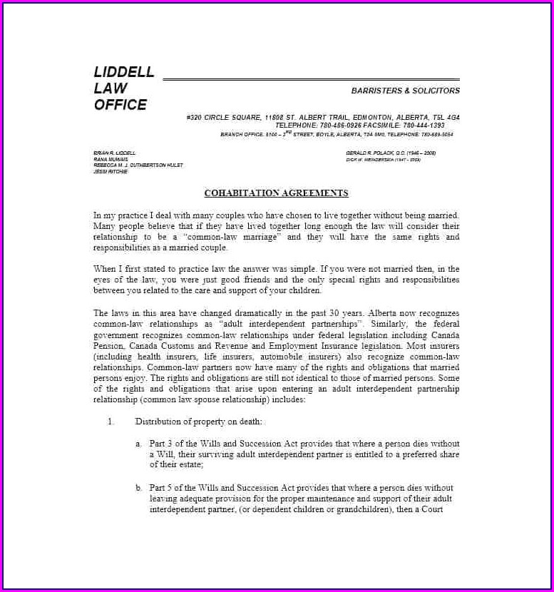 Cohabitation Agreement Bc Template