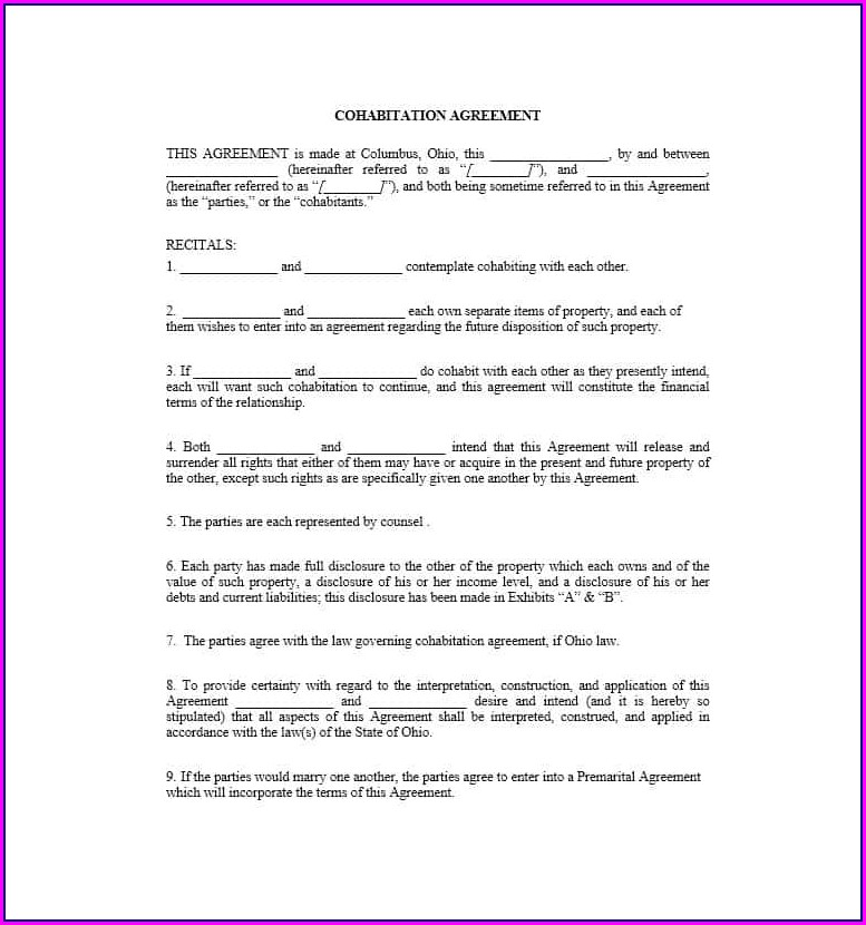 Cohabitation Agreement Ontario 2019 Template