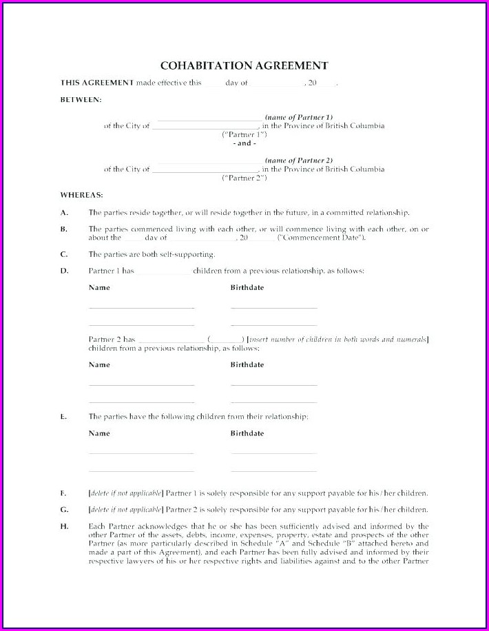 Cohabitation Agreement Template Uk
