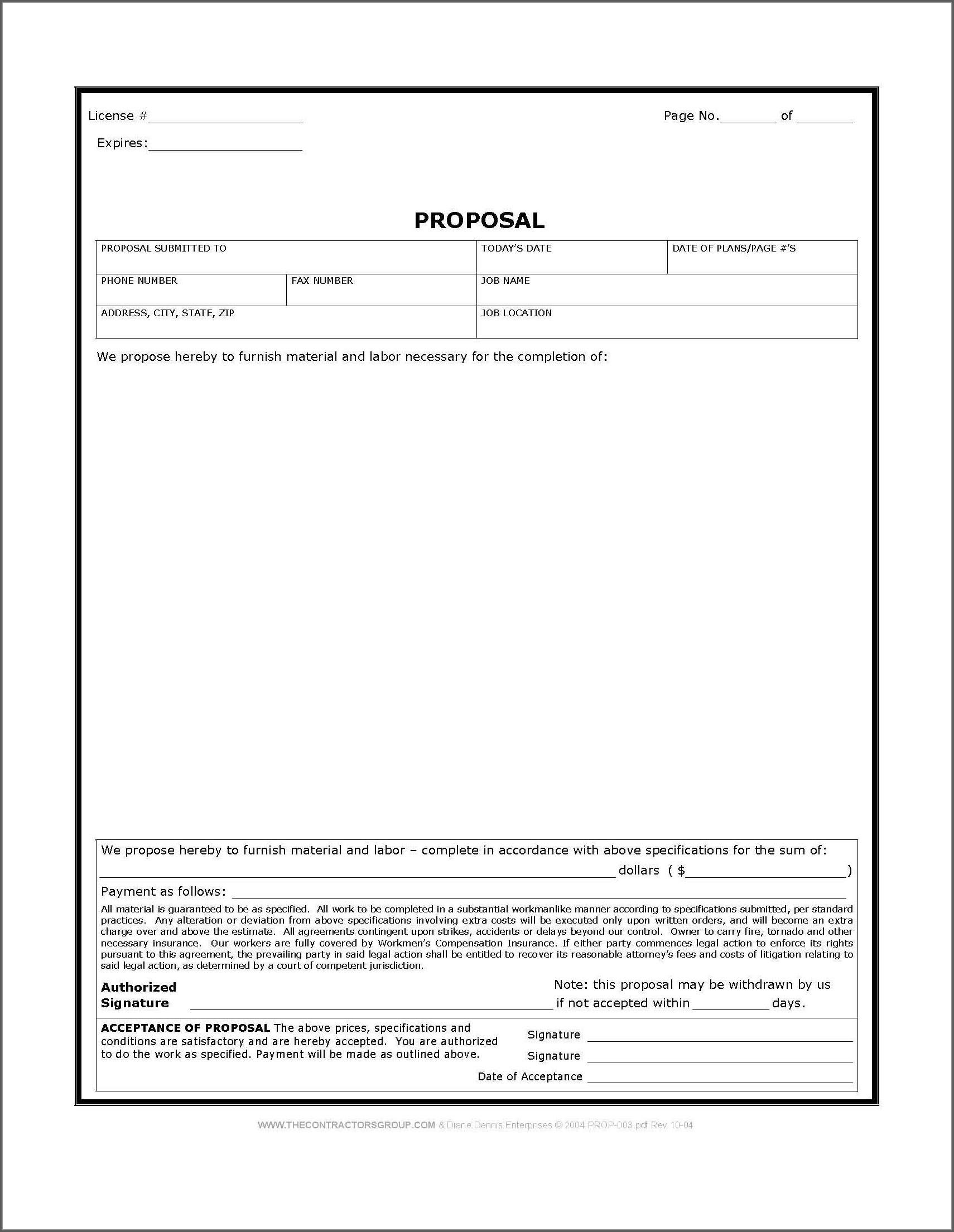 Construction Job Proposal Template Free