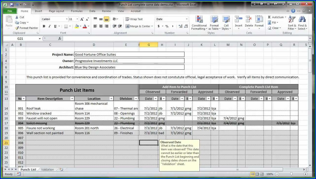 Construction Punch List Template Excel