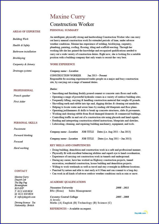 Construction Worker Construction Laborer Resume