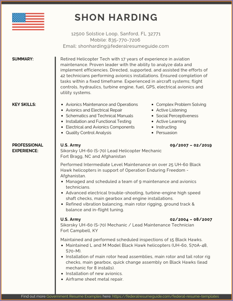 Converting Military Skills To Civilian Resume