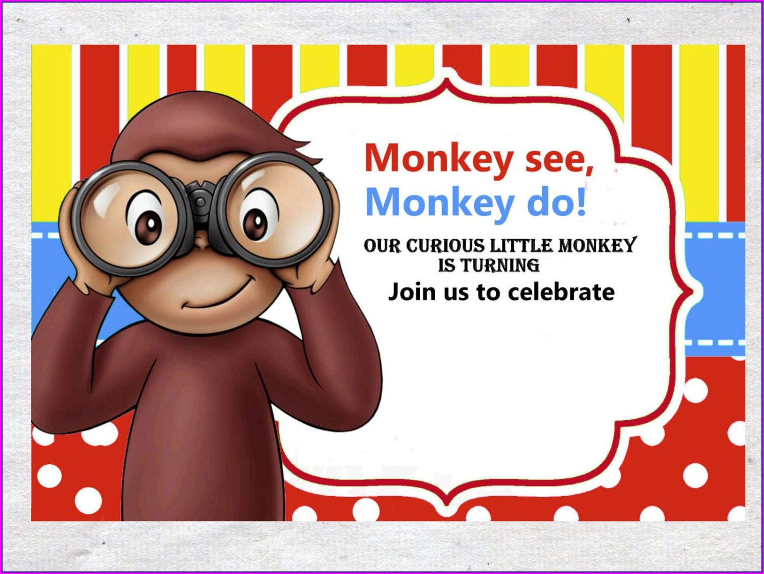 Curious George Invitation Template Free